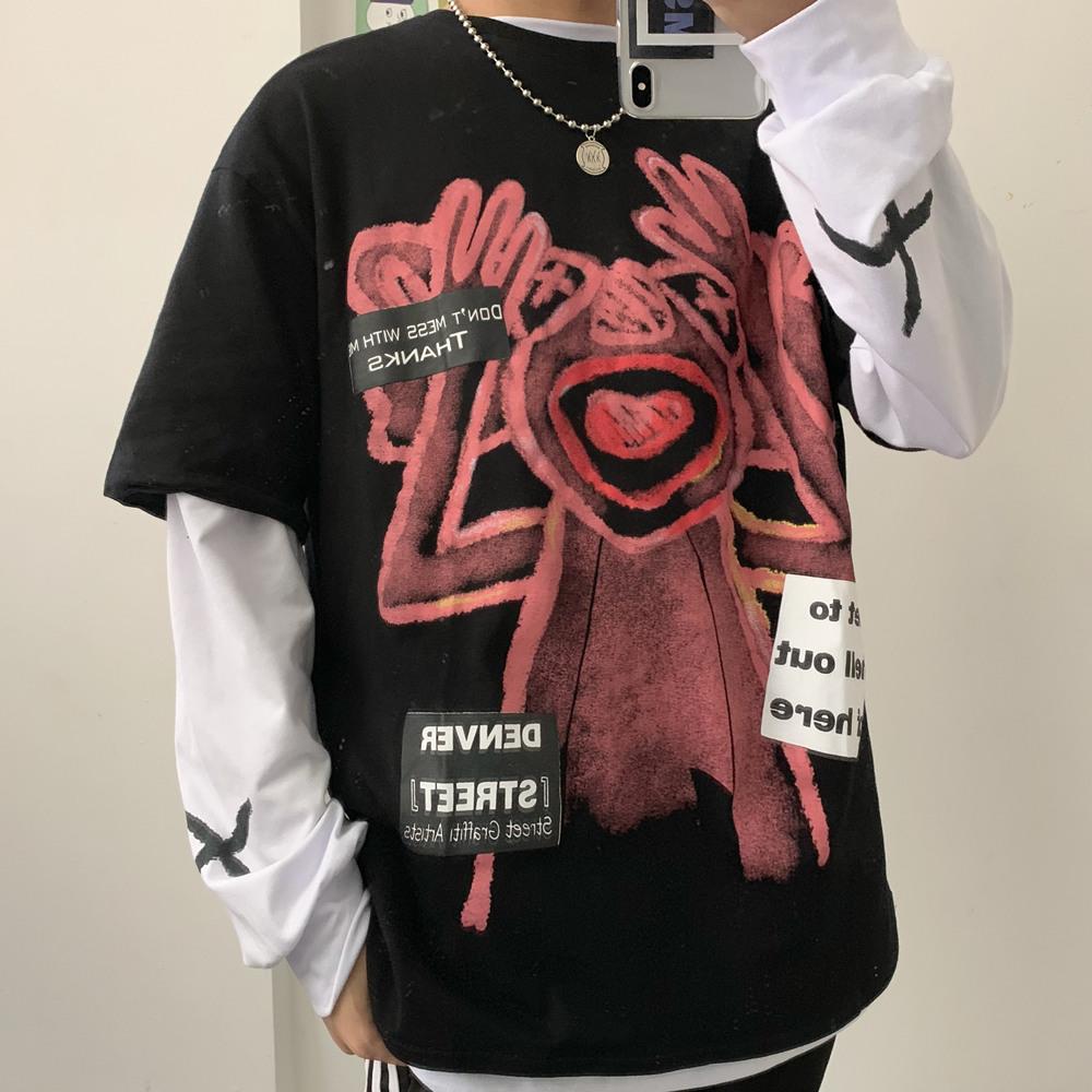 原创亚博娱乐平台入口实价控价31卡通手绘涂鸦bf宽松男女两件套长袖+短袖T恤潮