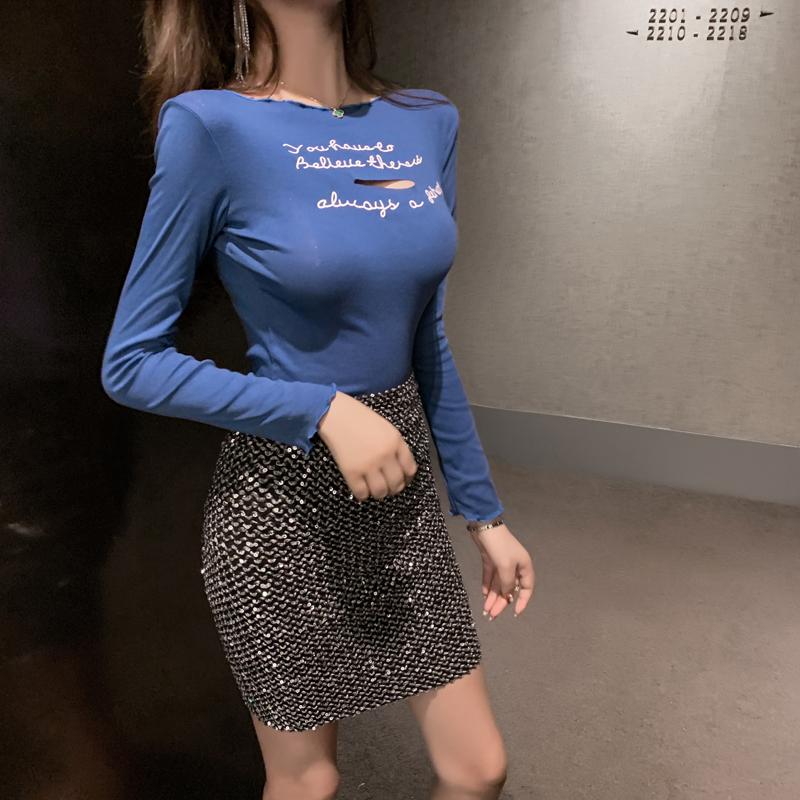 韓風2019秋季新款韓版修身打底衫割破字母印花木耳邊長袖T恤上衣
