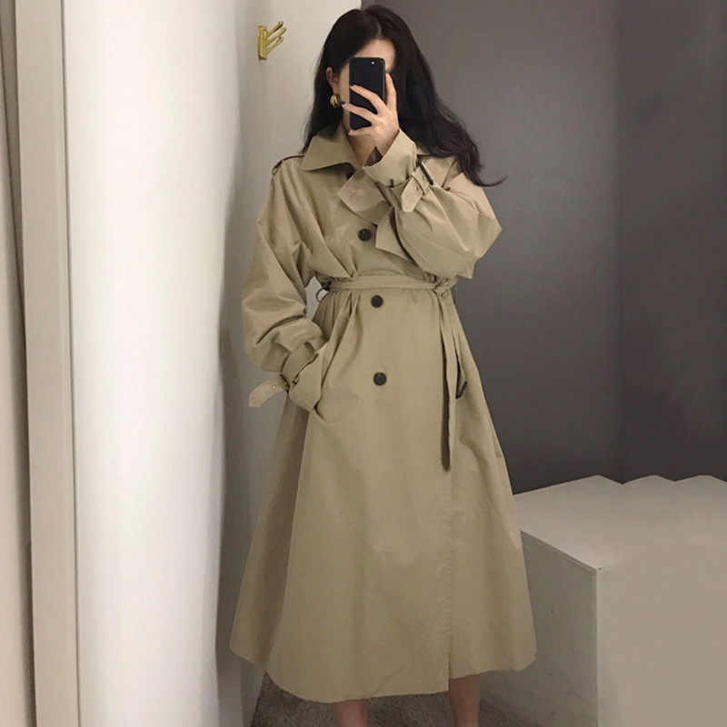 现货实价鬼马女法式气质网红大衣系带收腰中长款过膝风衣外套女潮