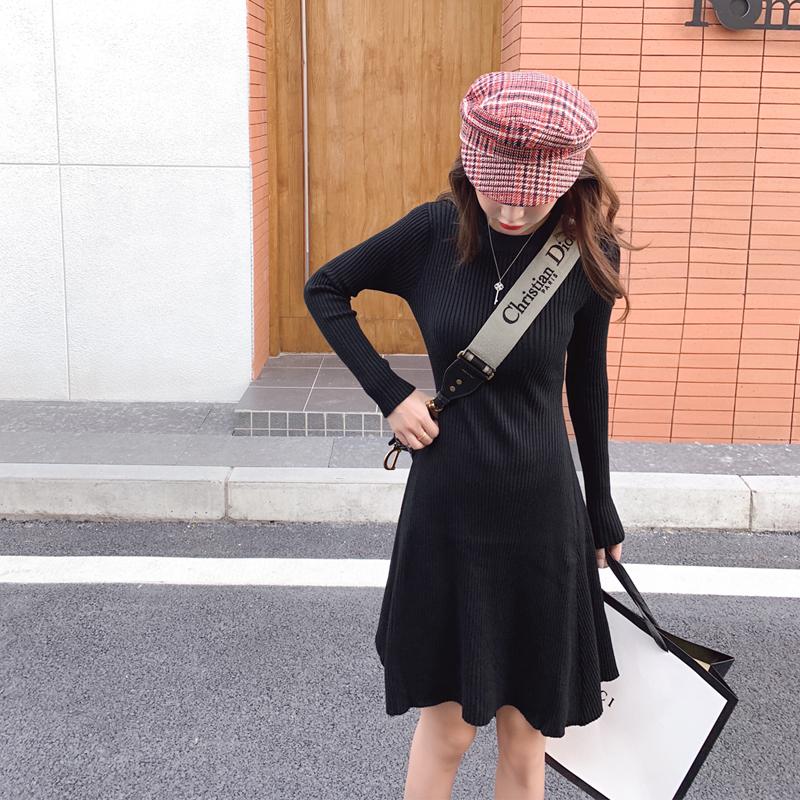 實拍2019網紅黑色針織長袖連衣裙女秋冬顯瘦高冷系女裝氣質打底裙