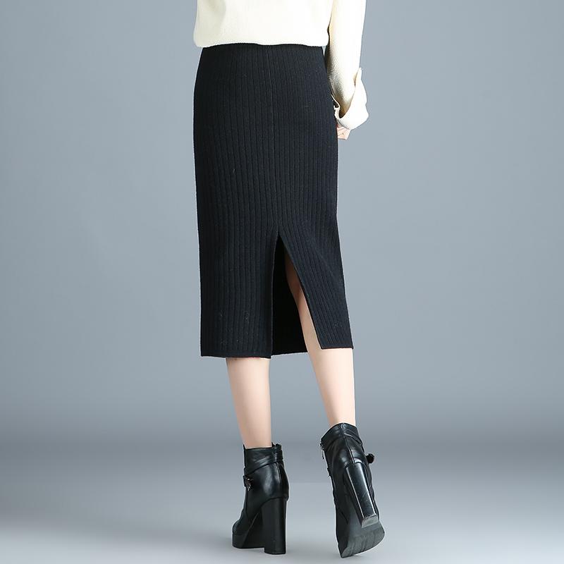 針織半身裙女秋季2019新款中長款裹裙毛線包臀裙顯瘦開叉一步裙冬