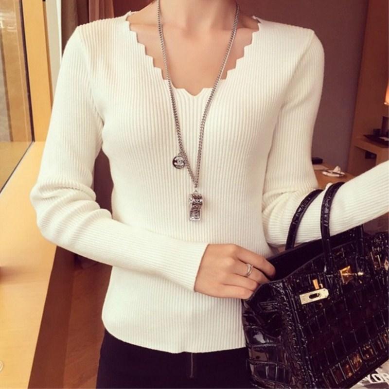 春秋冬季短款緊身毛衣女V領修身低領打底針織衫內搭外穿套頭上衣
