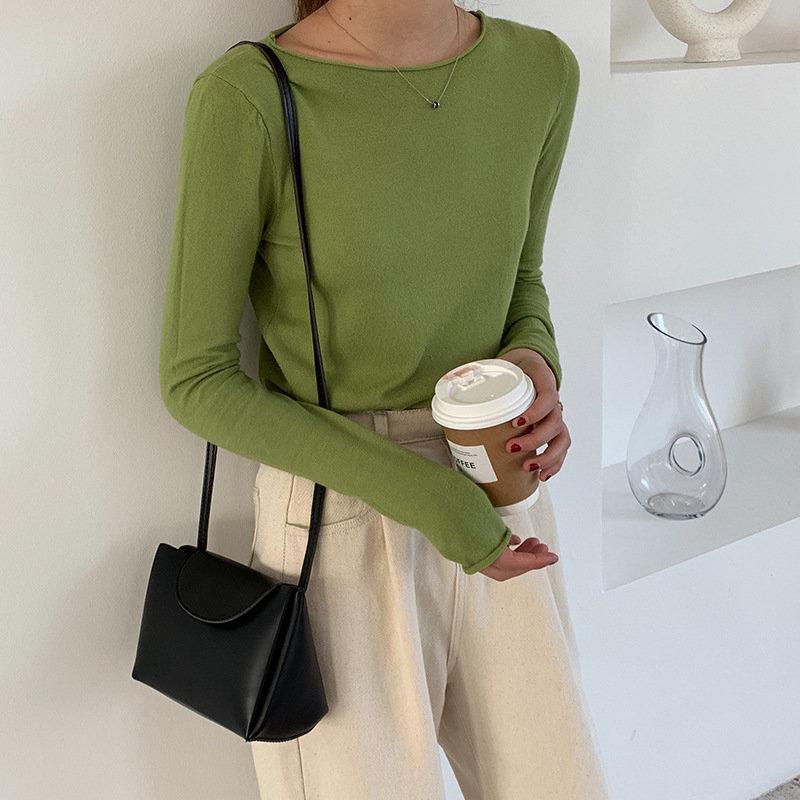 秋季新款港味復古長袖ins網紅T恤修身牛油果綠上衣冰絲針織套頭衫