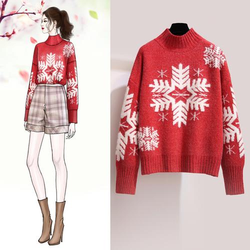 大红色很仙的毛衣女半高领圣诞套头宽松秋冬新款网红慵懒ins超火