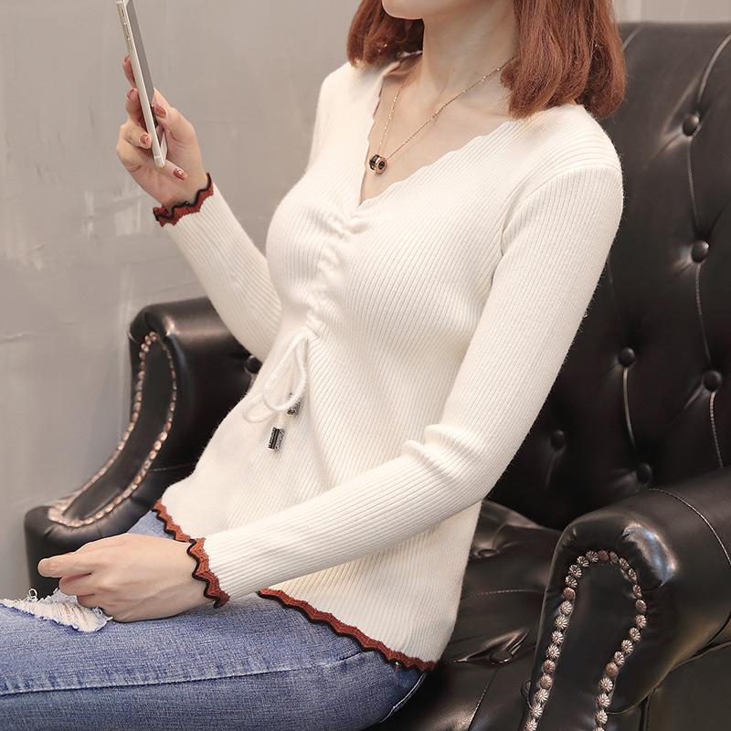 2019韓版早春季很仙的新款V領針織衫女抽繩系帶打底衫修身女毛衣