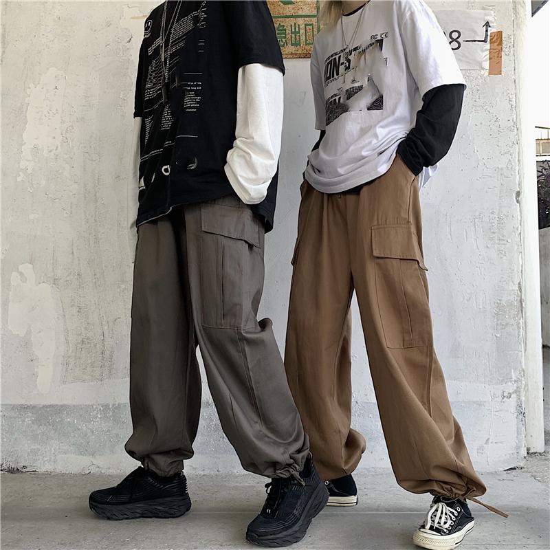 控價49韓國復古工裝褲男女休閑褲寬松慵懶腳口可調節束腳褲