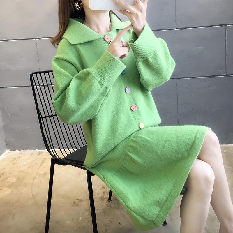 2896#實拍好質量2019新款慵懶風寬松連衣裙套頭長袖毛衣女