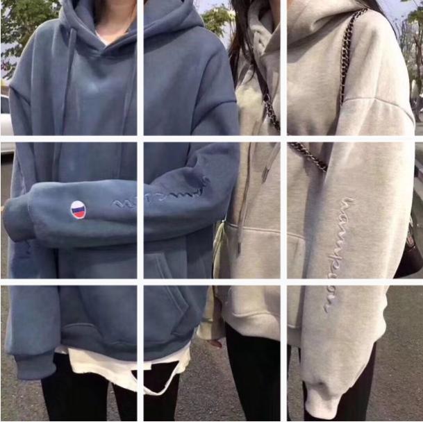 秋冬情侶裝霧霾藍衛衣加厚加絨女2019新款長袖寬松外套上衣潮