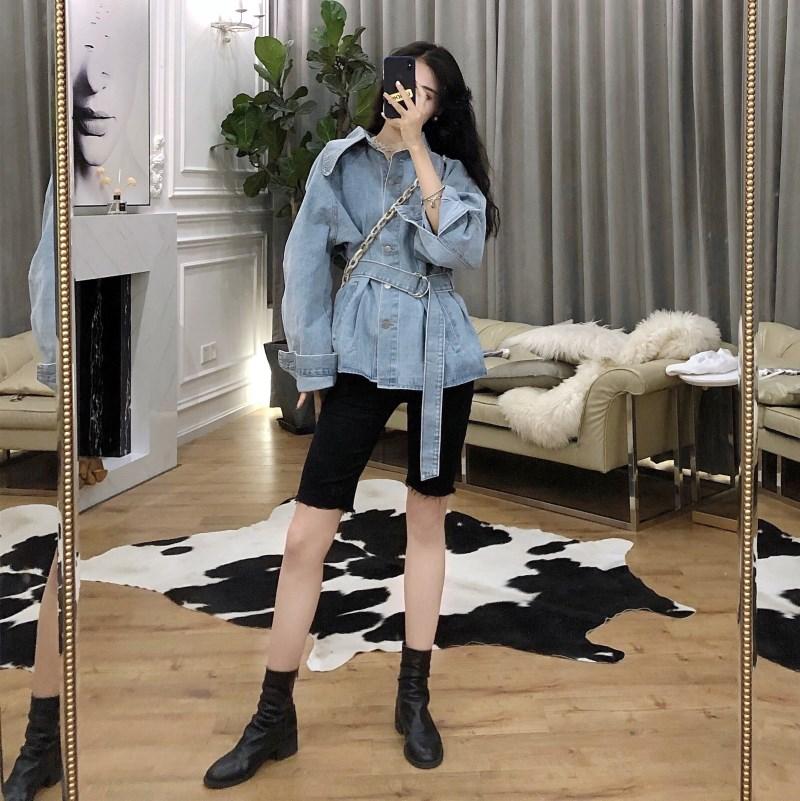 實拍實價 控價5 韓版復古單排扣長袖收腰綁帶牛仔外套