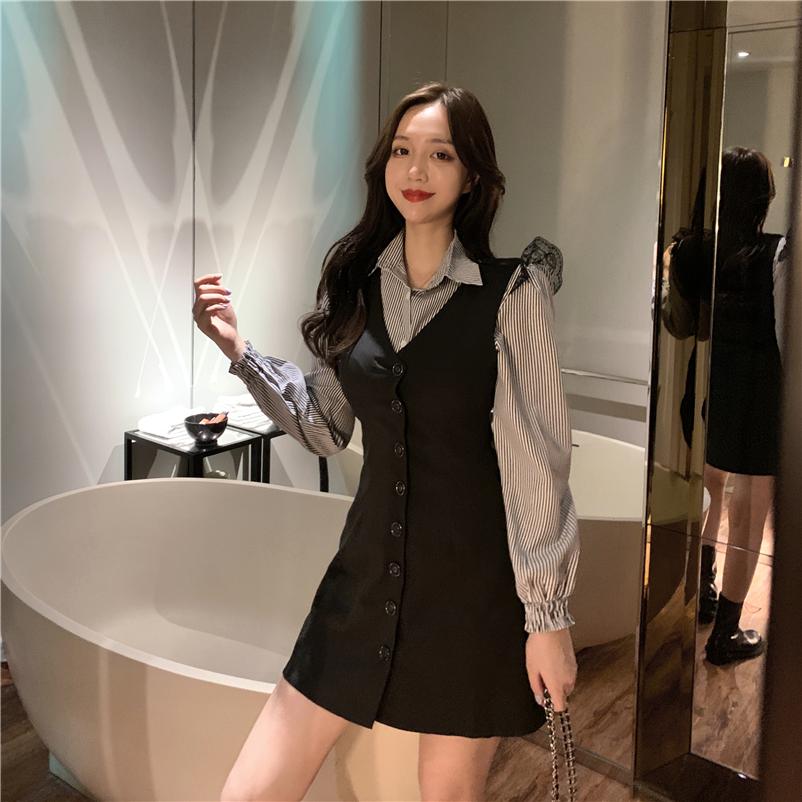 實拍實價 兩件套裝 復古蕾絲拼接條紋襯衫+韓版無袖背心連衣裙