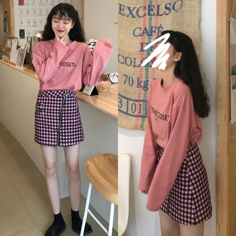 實拍實價加2 可愛減齡字母長袖T恤+酷甜酷甜の拉鏈格子半身裙