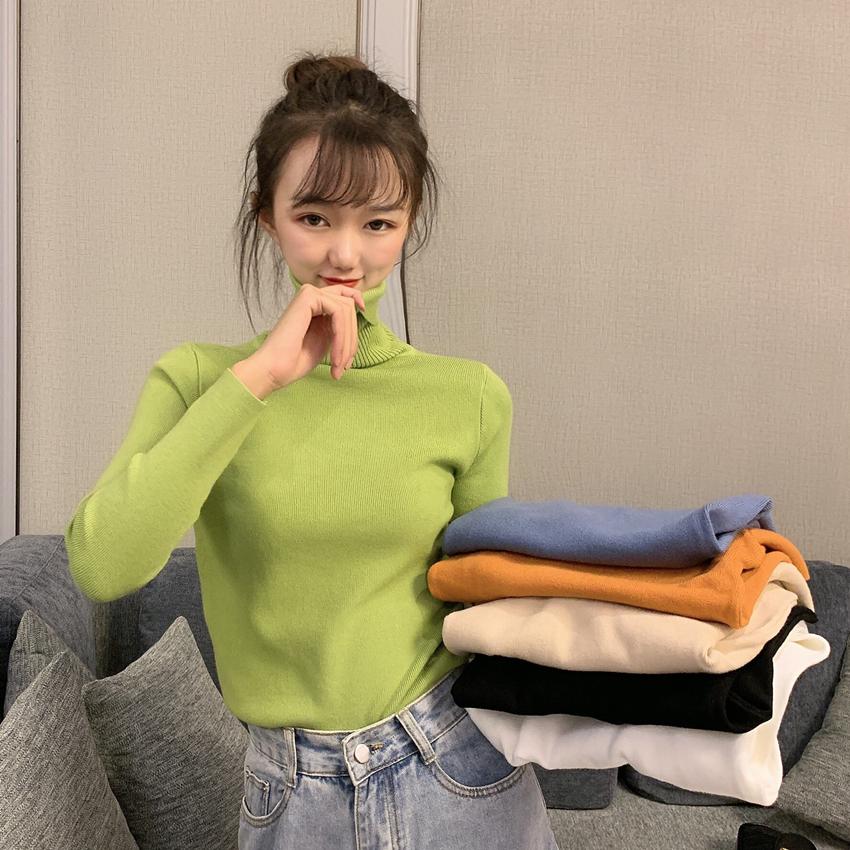 實拍實價 秋季韓版百搭高領修身純色針織打底衫女內搭長袖上衣