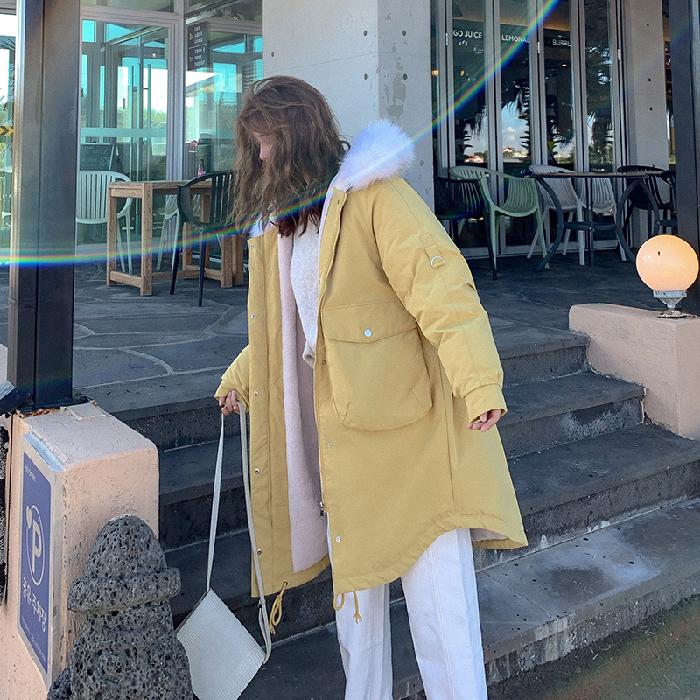 實拍2019羽絨服大碼女裝中長款寬松內膽羊羔毛棉衣胖MM外套派克服