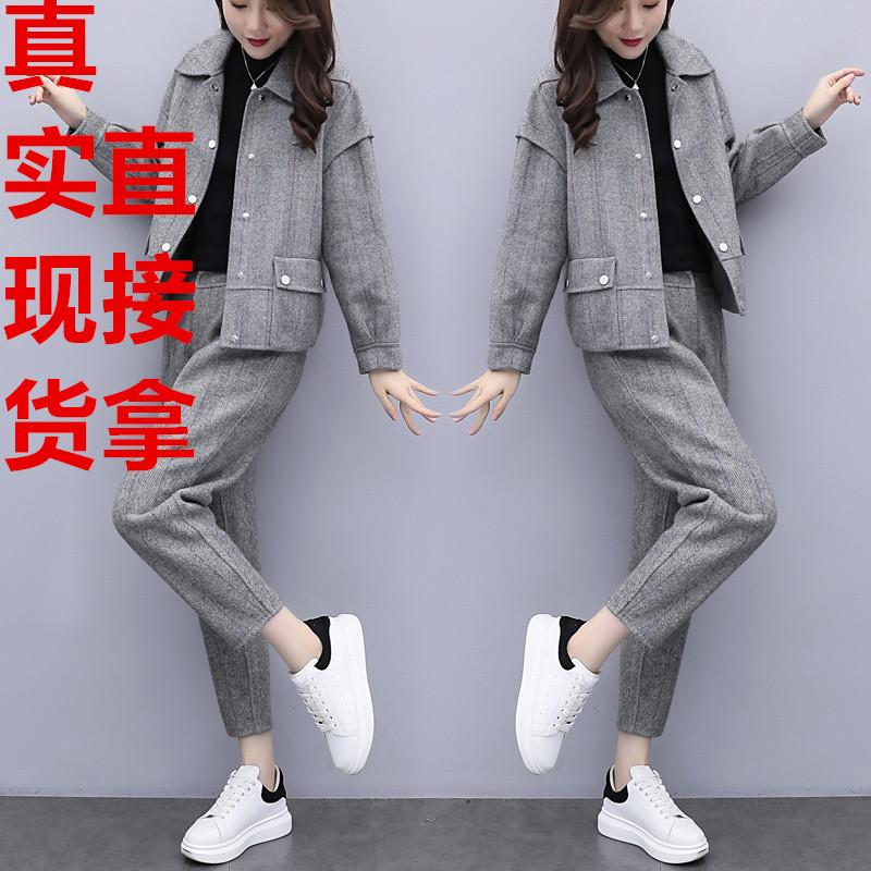 2019新款女裝秋冬大碼兩件套褲毛呢短外套長褲休閑時尚套裝女洋氣