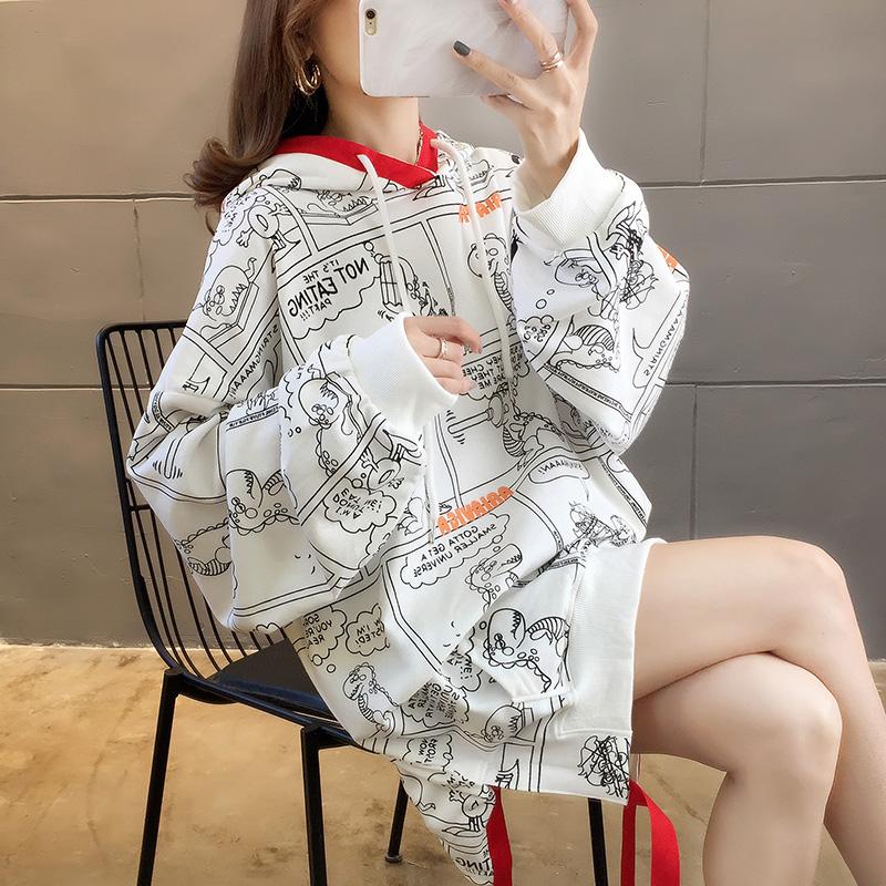 9126#實拍200斤可穿大碼女裝2019秋季新款韓版慵懶風連帽衛衣