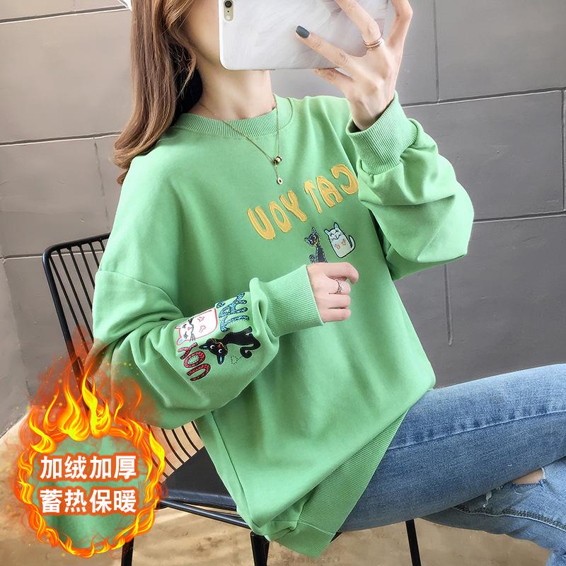 9125#實拍 加絨加厚 成分 100聚酯纖維 字母連帽綠色長袖衛衣女