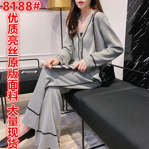 初秋女裝新款氣質輕熟女針織衫兩件套休閑時尚闊腿褲百搭顯瘦套裝