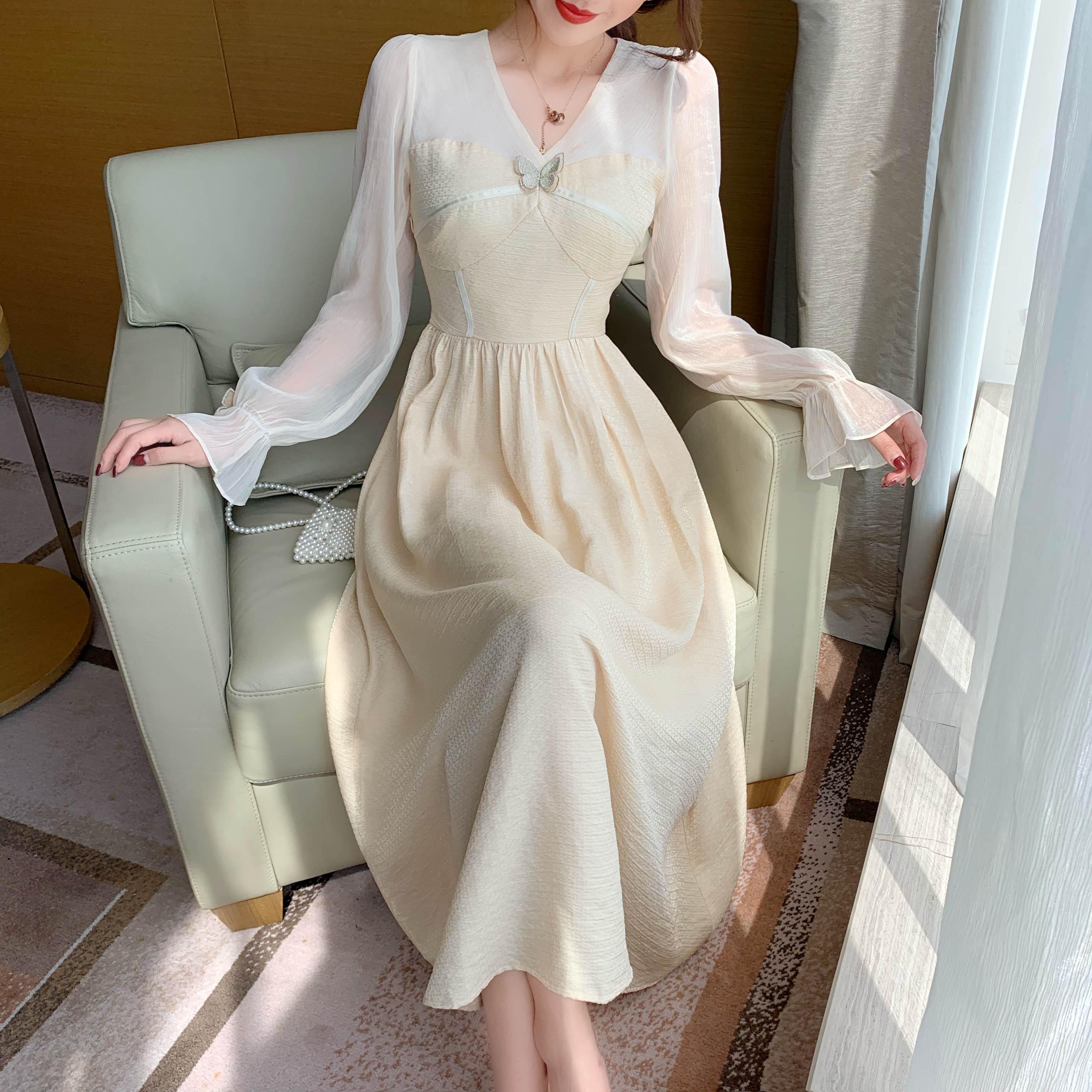 實拍實價智熏裙法式桔梗裙秋很仙的法國小眾流行裙子時尚連衣裙女