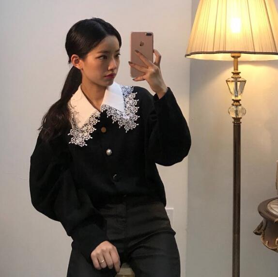 实价 秋冬新款 精致蕾丝拼接娃娃领蕾丝边衬衫外套