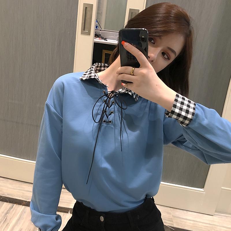 實拍2019秋季學院風蝴蝶結系帶格子拼接Polo領小清新襯衫T恤女