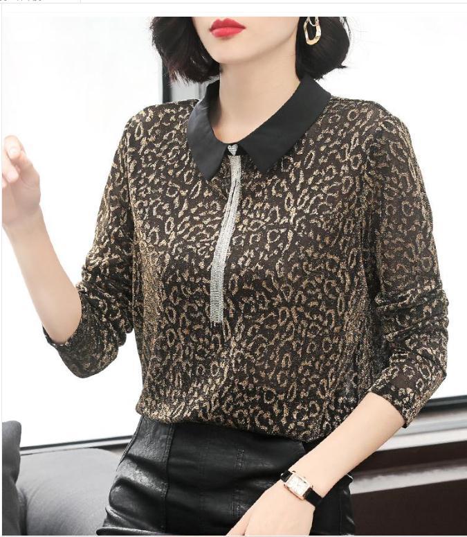 長袖T恤女豹紋顯瘦翻領POLO衫秋季2019新款初秋女潮上衣輕熟洋氣