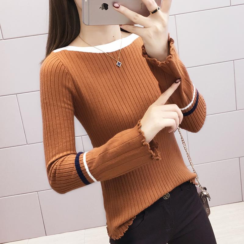 213#實拍 100聚酯纖維 喇叭袖寬松毛衣慵懶套頭氣質時尚針織潮
