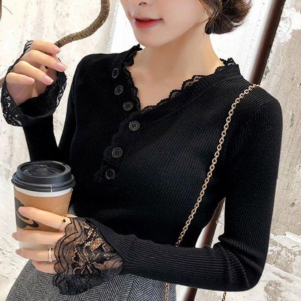 蕾絲花邊v領毛衣女修身秋冬新款緊身上衣內搭長袖加厚打底針織衫
