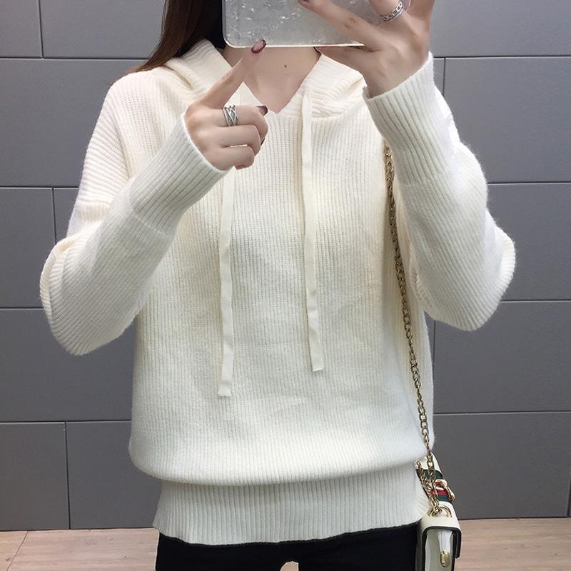 2814#實拍新款寬松純色毛衣女2019秋裝套頭休閑韓版chic學生針織