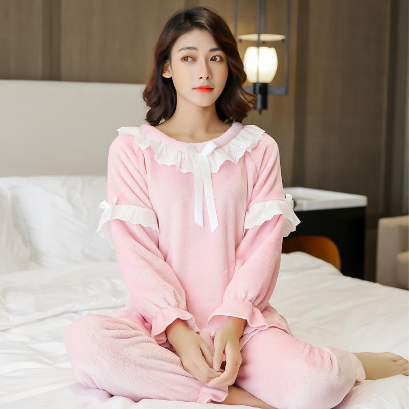 實拍冬季睡衣女加絨加厚家居服冬天女士法蘭絨睡衣珊瑚絨套裝M-XL