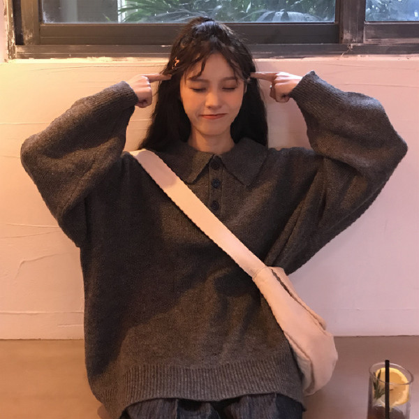 2019韓版新款簡約ins學生針織毛衣Polo領套頭毛衣秋冬寬松毛衫