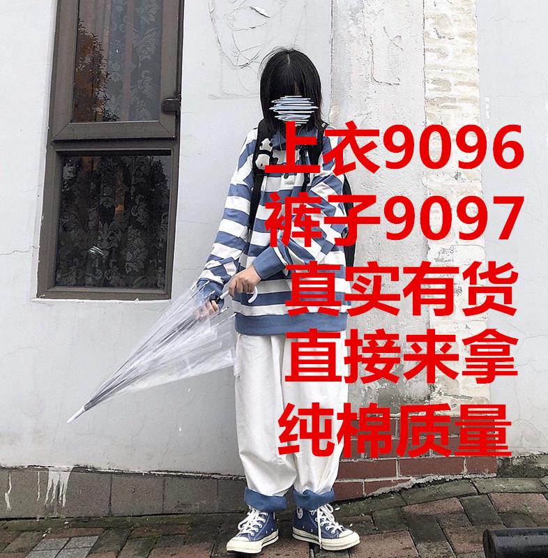 Take off咖喱人/日系藍白條紋polo衫國潮寬松oversize顯瘦男女ins