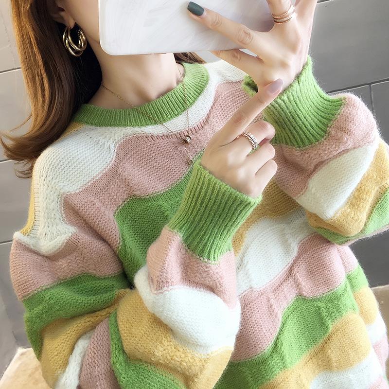 2899#實拍好質量秋裝韓版拼色條紋圓領套頭毛衣chic針織衫女