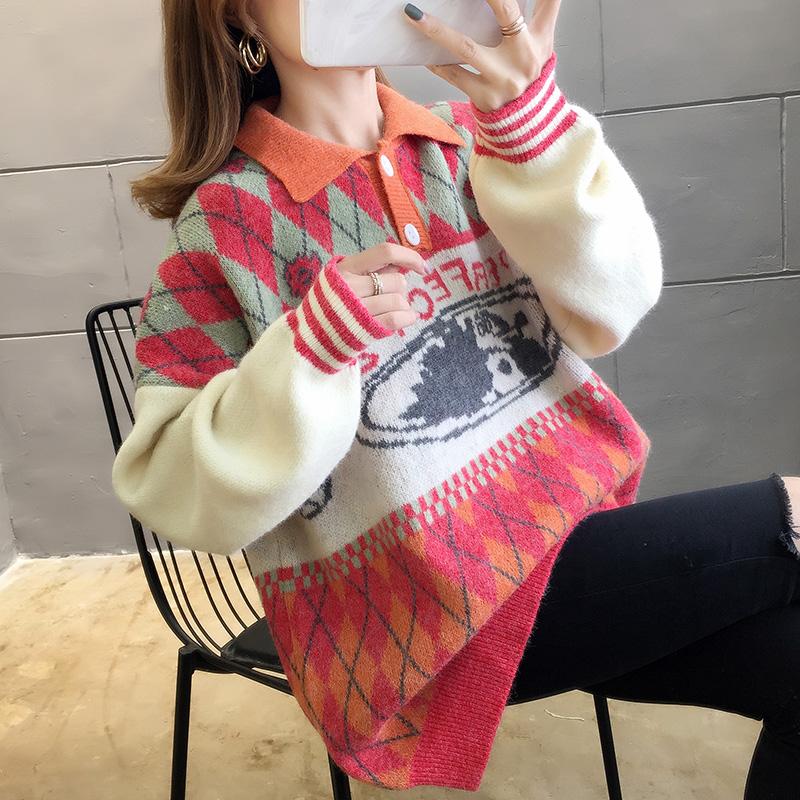 2900#實拍好質量韓版2019秋新款POLO領套頭撞色毛衣針織衫女