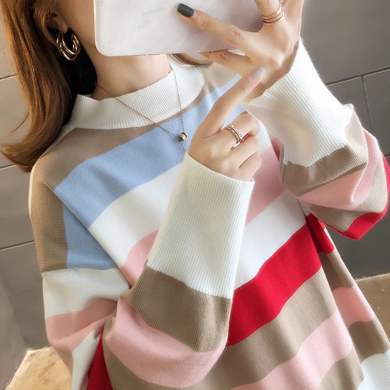 2904#實拍好質量秋裝韓版2019新款彩虹條紋套頭針織毛衣女裝