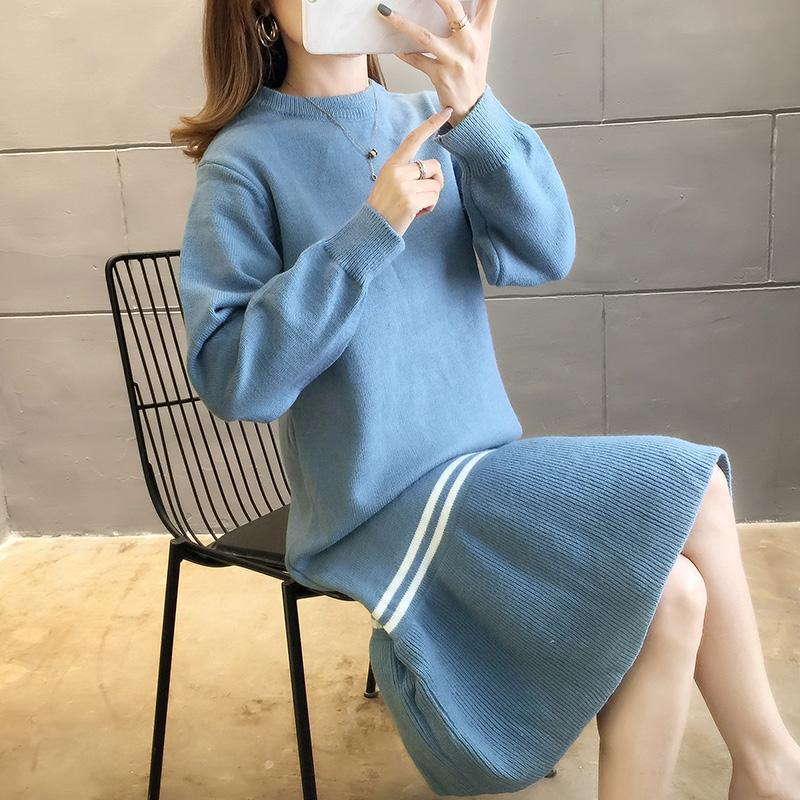 2905#實拍好質量秋裝韓版2019新款寬松中長款套頭毛衣連衣裙