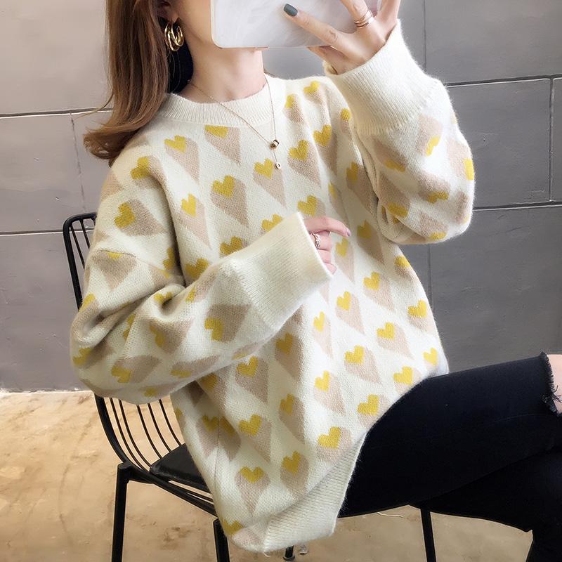 2902#實拍好質量韓版2019秋新款設計感撞色愛心套頭針織毛衣
