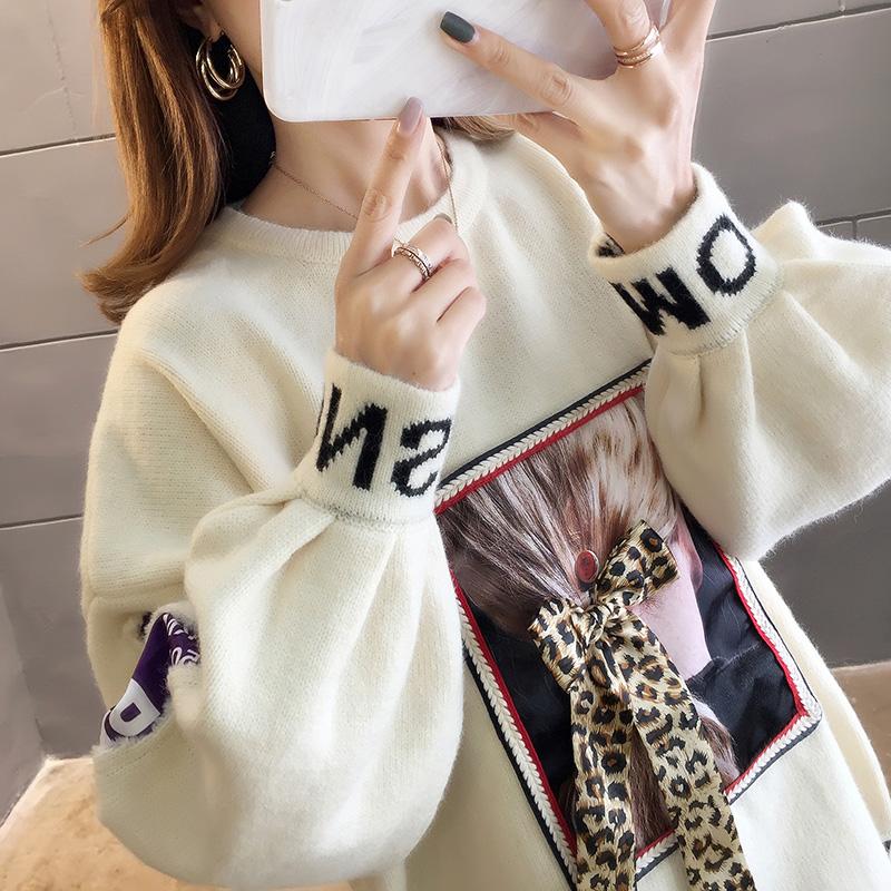 2903#實拍好質量秋裝2019新款設計感不規則套頭針織毛衣女裝