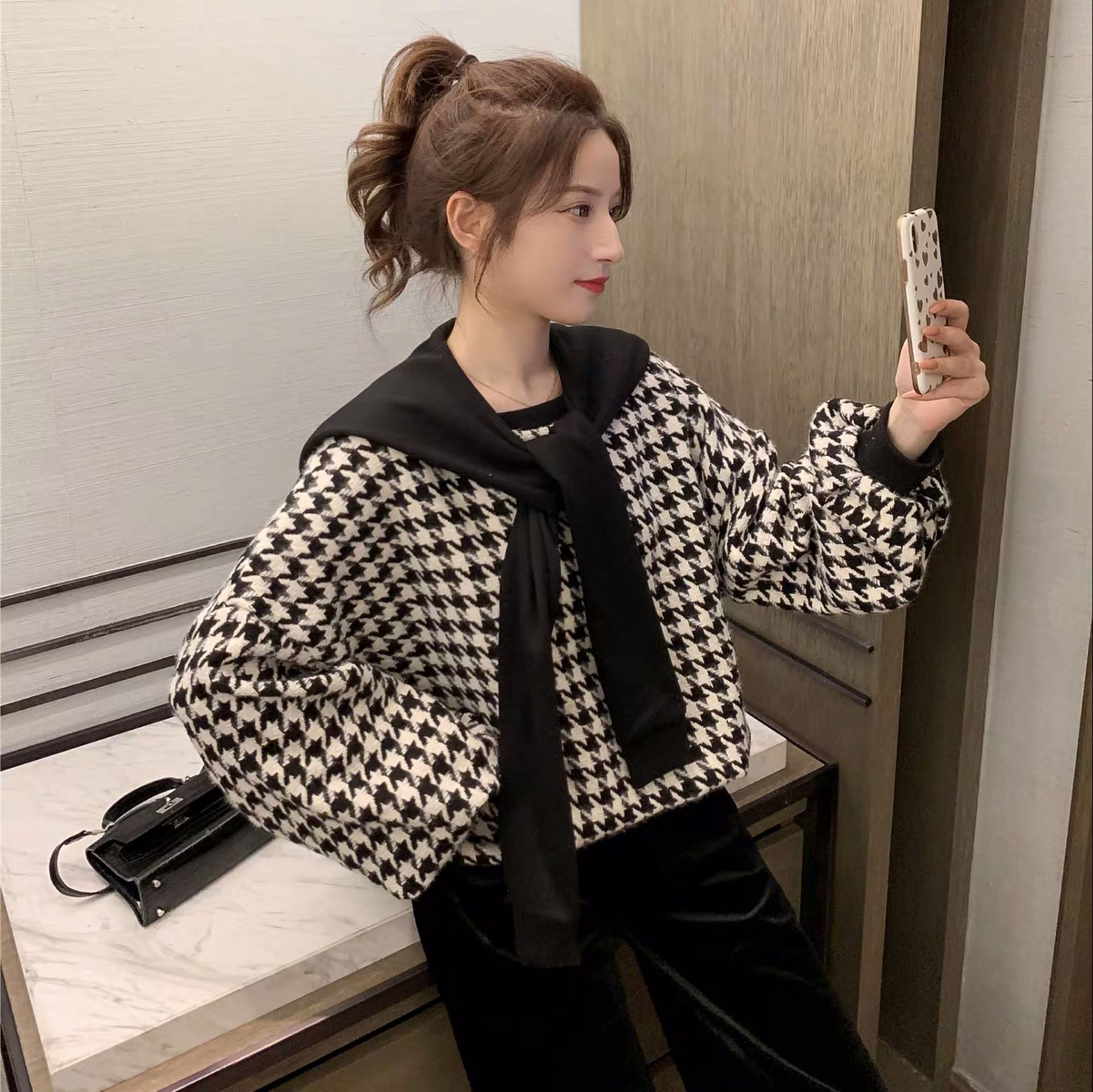 10.7新品 0点上新韩版宽松假两件披肩千鸟格卫衣外套E10111