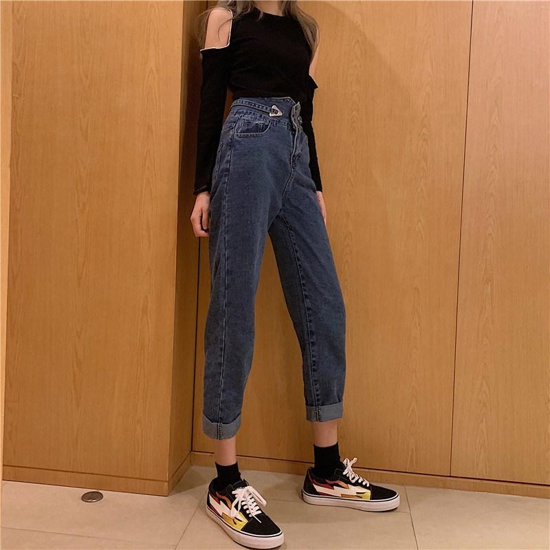 实拍?#23548;?控价5 秋装新款高腰百搭显瘦哈伦小脚牛仔裤