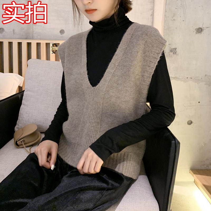 亚博娱乐平台入口 新品韩国简约V领针织无袖马甲毛衣学生百搭背心女 现货
