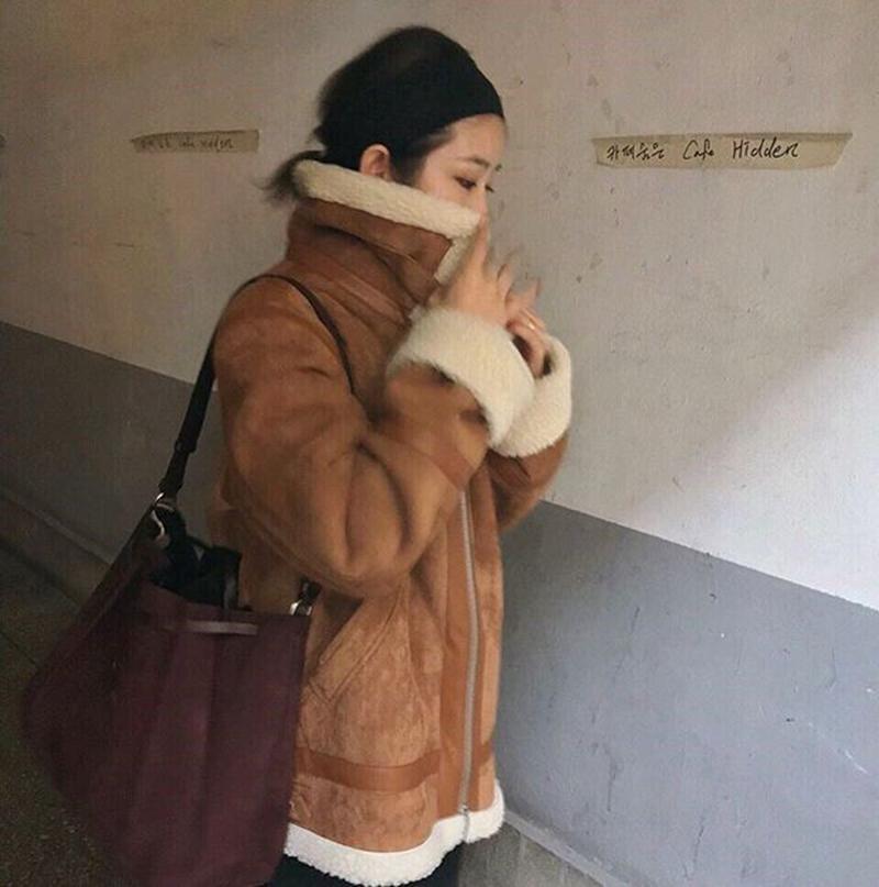 韩国ins 冬季复古pu皮拼接皮毛一体羊羔毛保暖外套女 现货