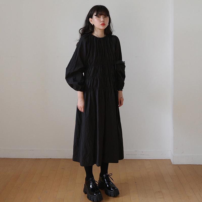 韩国ins 秋冬复古圆领褶皱收腰显瘦宽松连衣裙长裙 现货