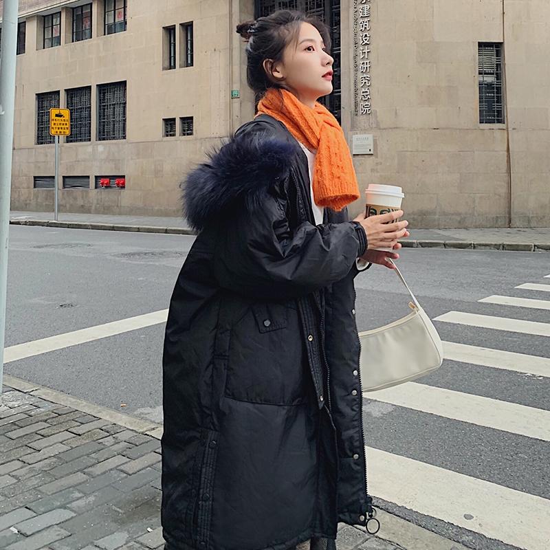 實拍2019韓國冬季棉服女新款韓版中長款羽絨服大碼寬松棉襖棉衣