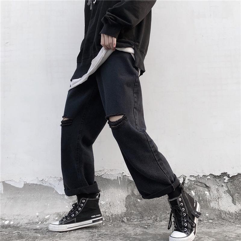 控价45韩国潮流牛仔裤破洞暗黑系九分裤直筒裤复古港风男女休闲裤