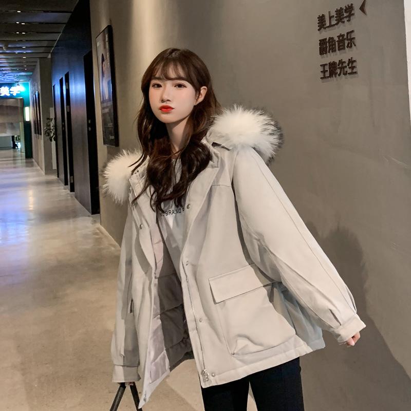 实拍2019秋冬新款羽绒棉服女韩版短款棉衣装网红大毛领短款外套