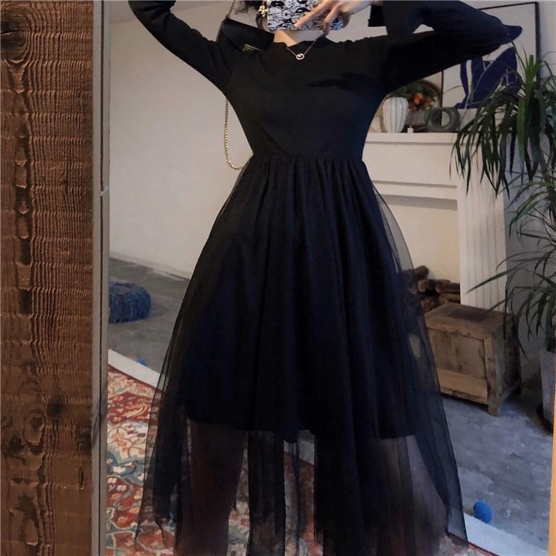 實拍實價 控價5 秋裝新款收腰顯瘦拼接網紗打底連衣裙