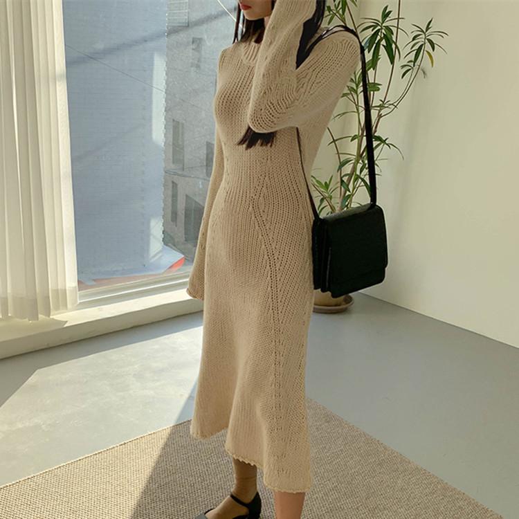 現貨秋冬韓版氣質縷空修身顯瘦打底中長款過膝毛衣裙女針織連衣裙
