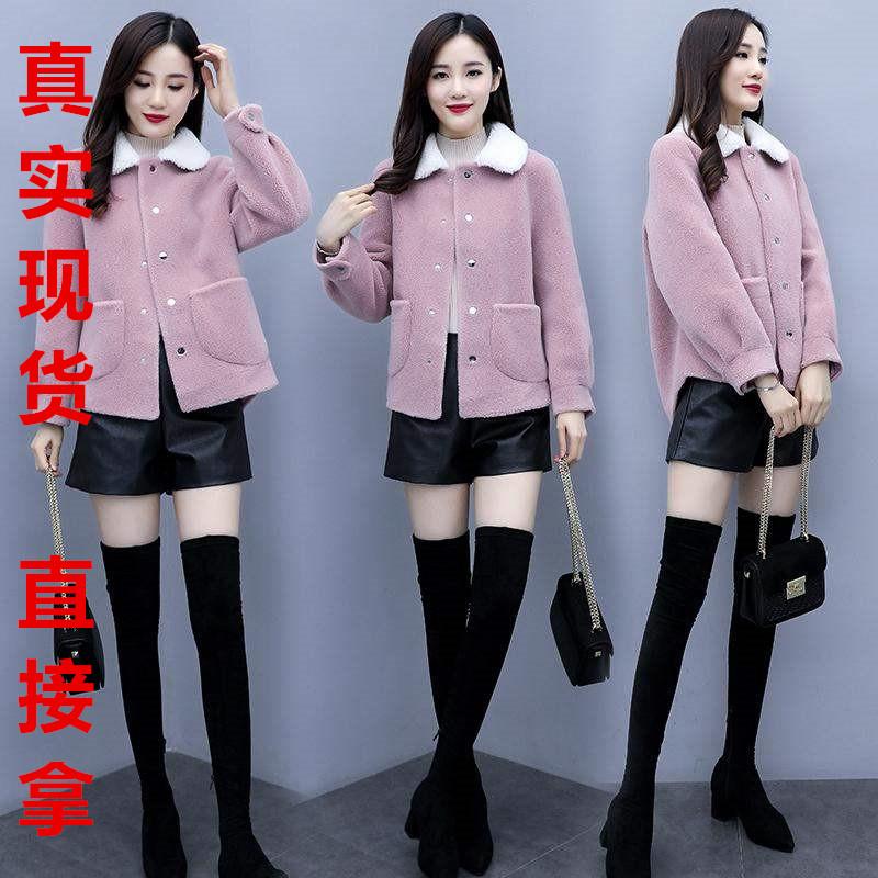 高端大牌冬季新款女裝韓版寬松流行小個子秋冬時尚氣質顆粒絨毛呢