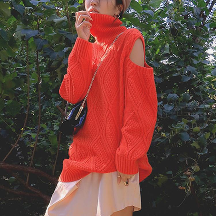 现货秋冬麻花编织露肩镂空高领上衣保暖打底毛衣韩国时尚针织衫女