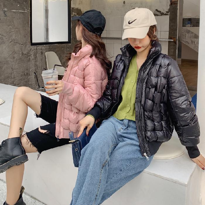 實拍2019冬季新款閨蜜裝羽絨服女短款韓版學生立領面包服棉衣外套